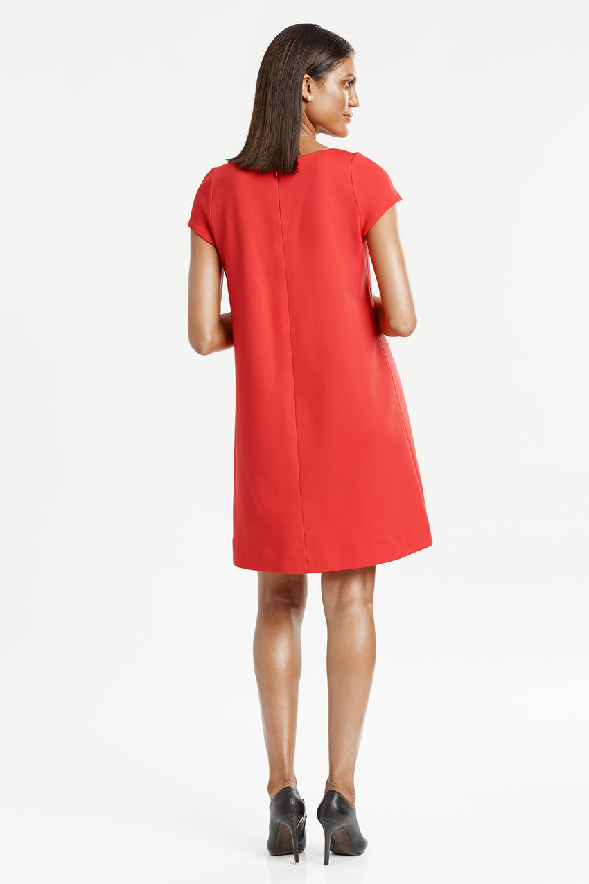 Back profile of Short Sleeve Knit A-Line Dress in red