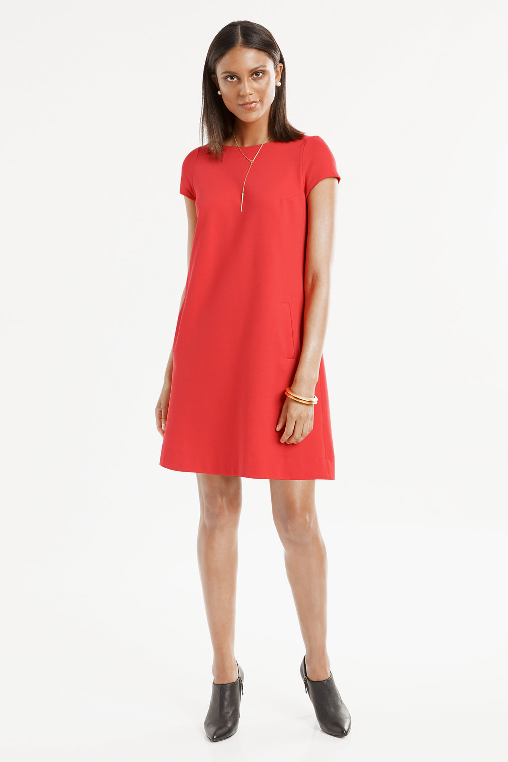 Short Sleeve Knit A-Line Dress in red