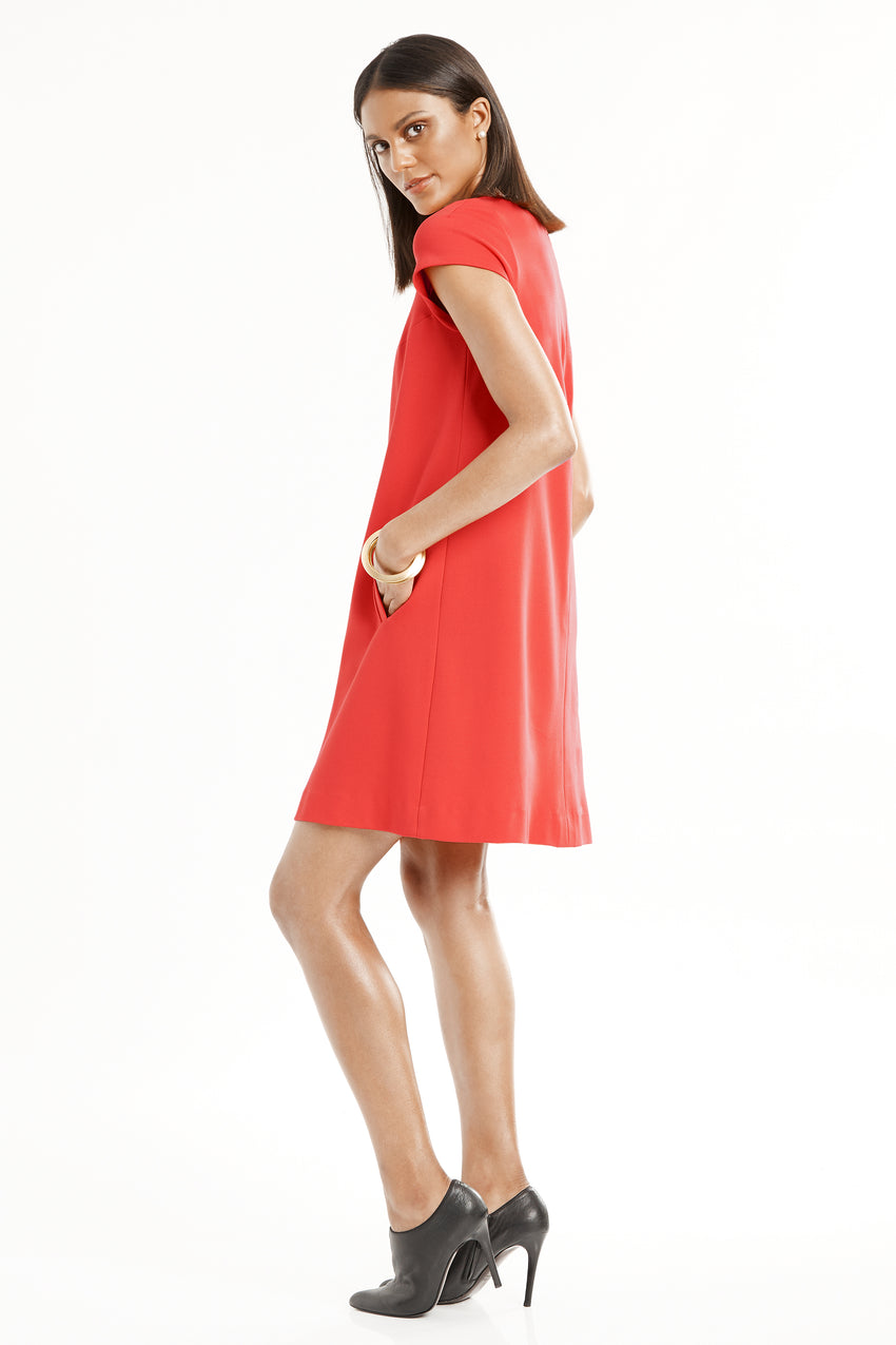 Side profile of Short Sleeve Knit A-Line Dress in red