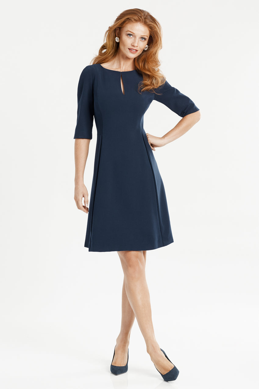 Split neck fit and flare dress in navy