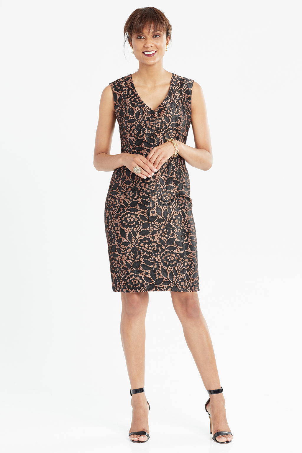 Brocade sheath dress in black and copper