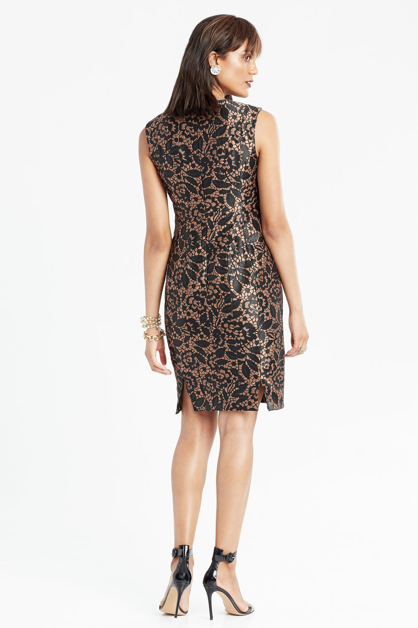 Back profile of Brocade sheath dress in black and copper
