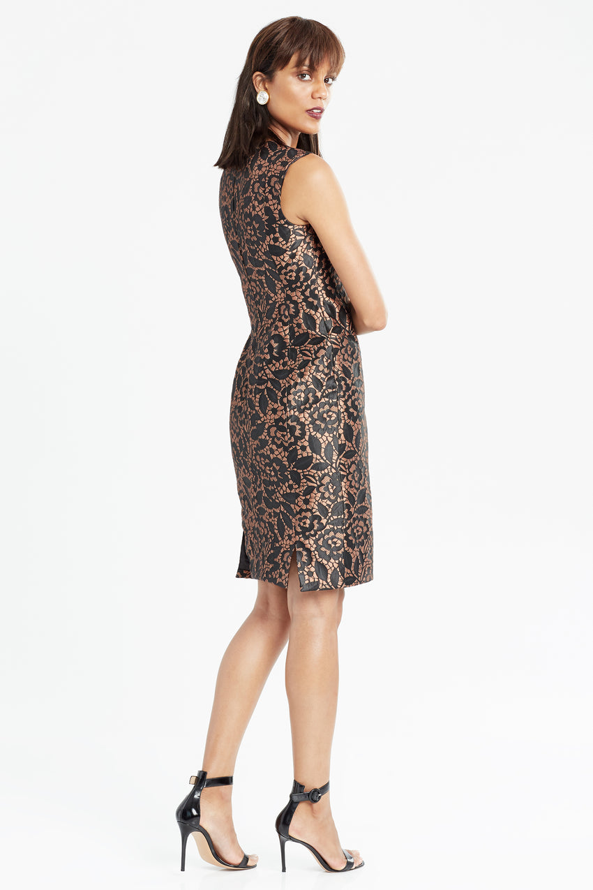 Side profile of Brocade sheath dress in black and copper