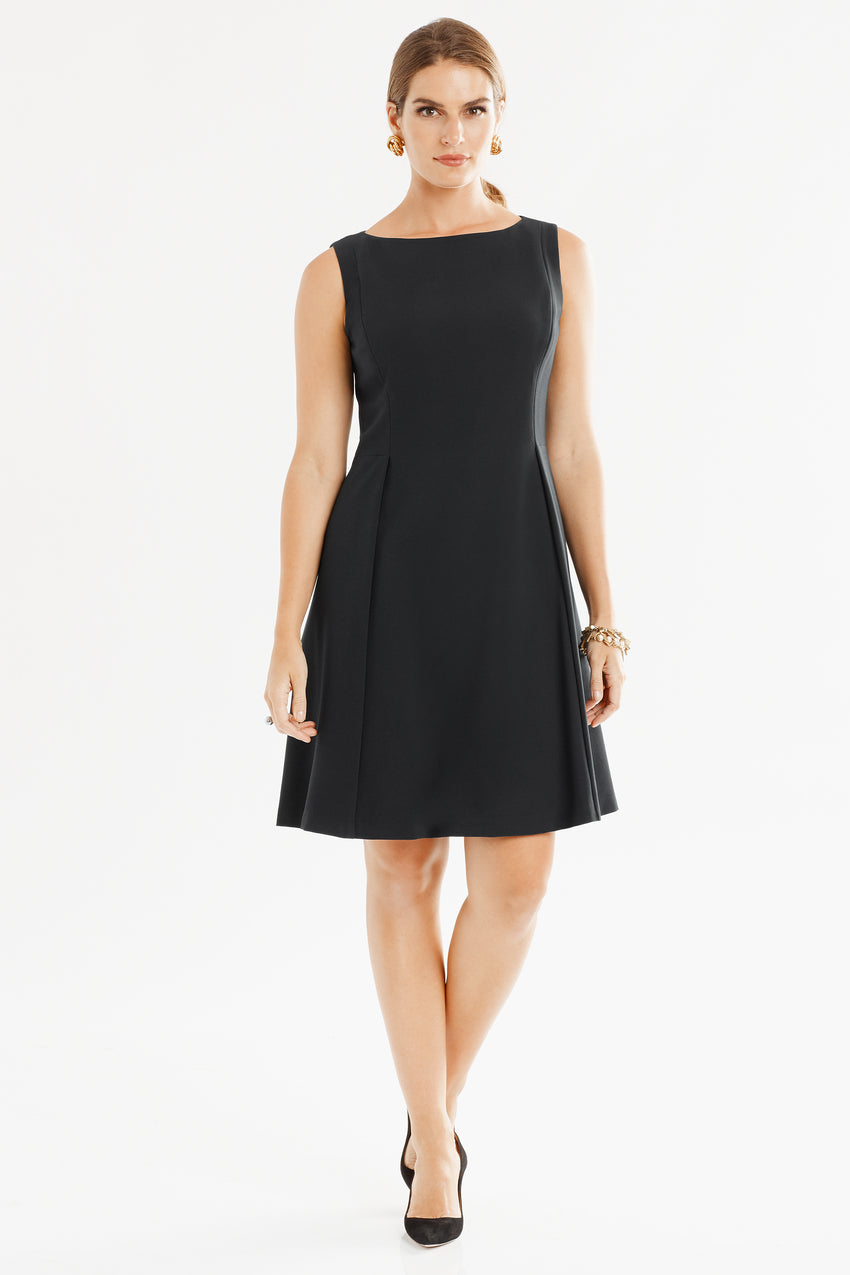 Sleeveless Front Pleat Fit & Flare Dress in black