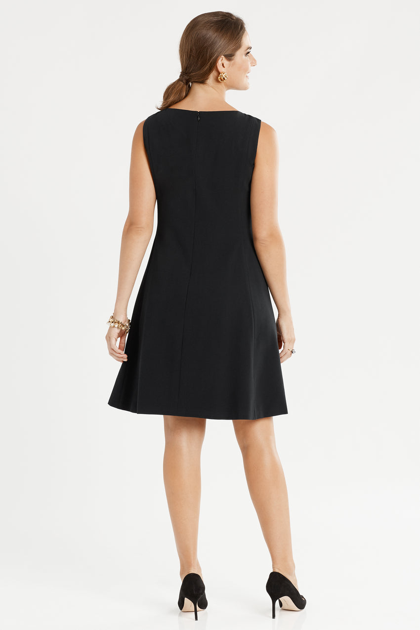 Back profile of Sleeveless Front Pleat Fit & Flare Dress in black
