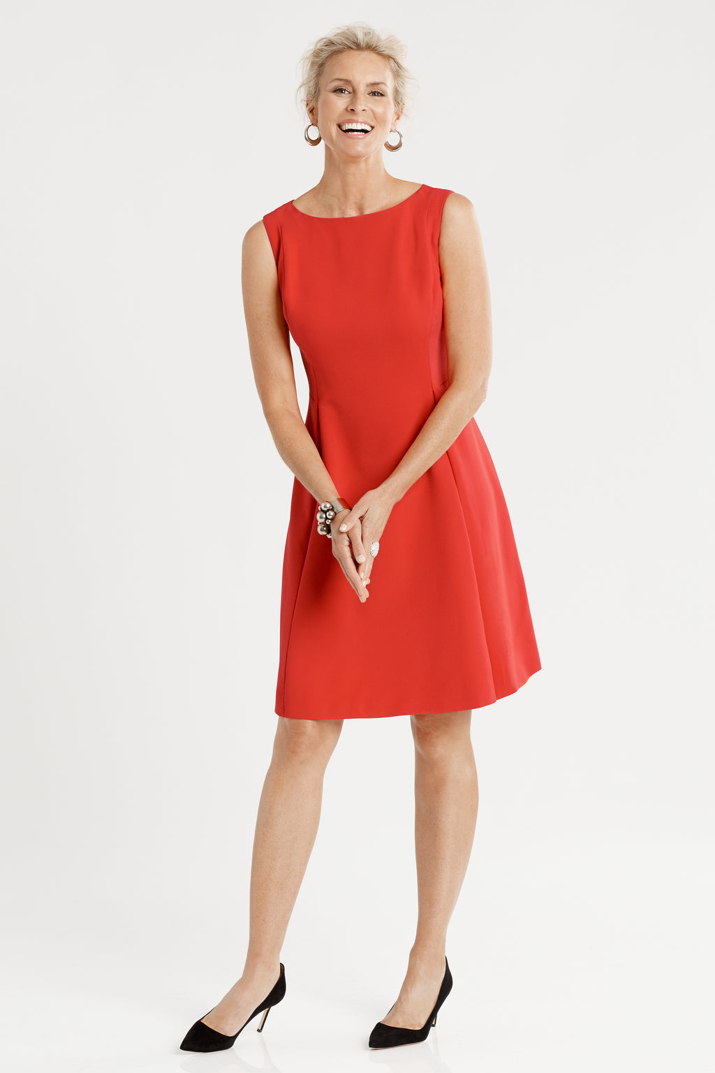 Sleeveless Front Pleat Fit & Flare Dress in red