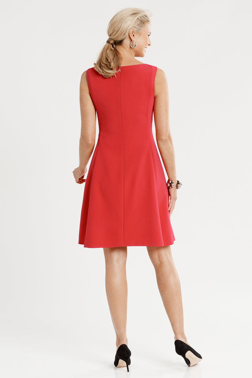 Back profile of sleeveless Front Pleat Fit & Flare Dress in red