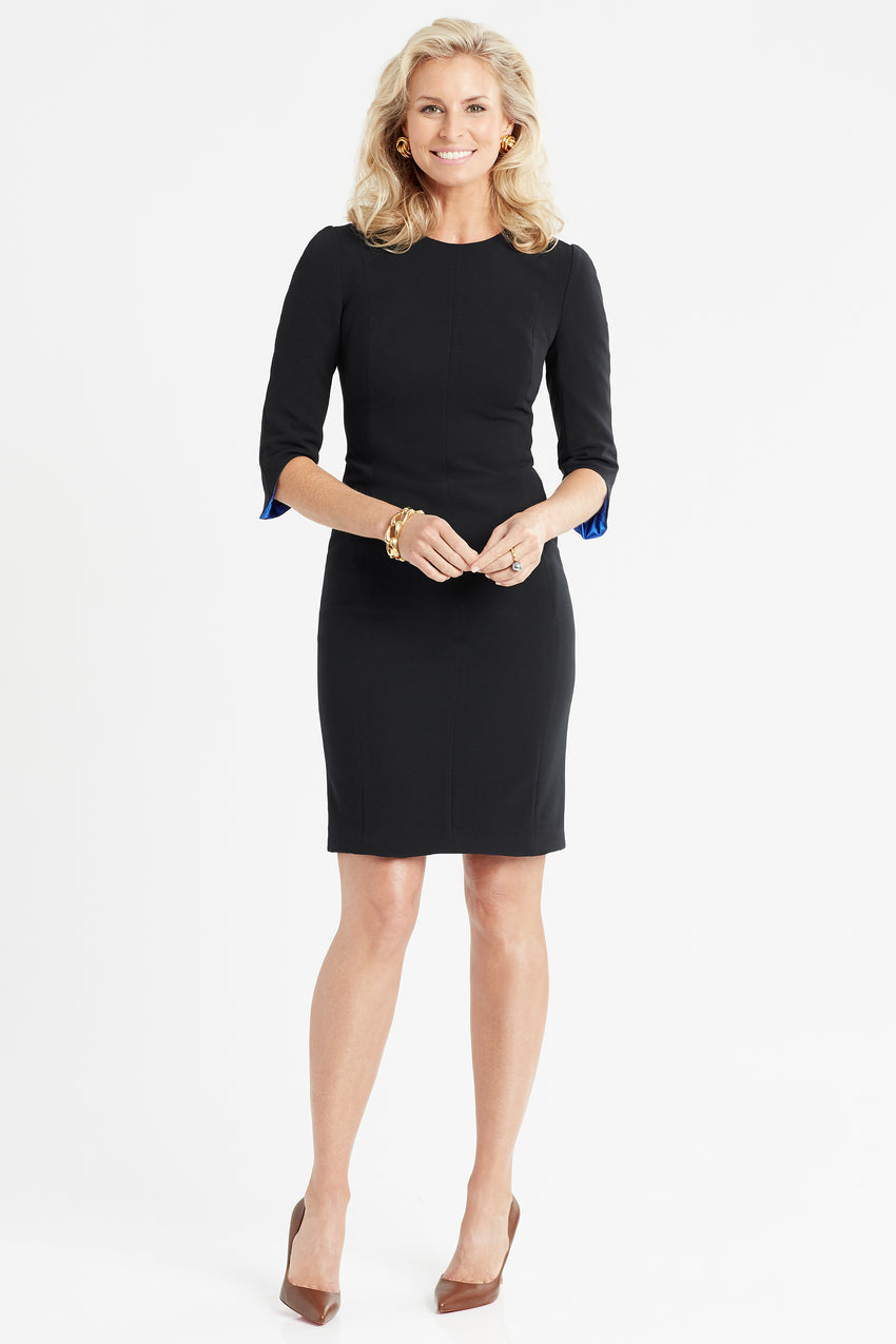 Princess seamed Crepe Sculpted Sheath Dress in black