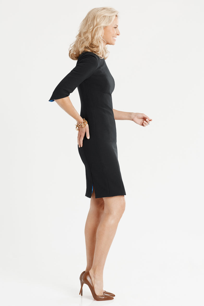 Side profile of Princess seamed Crepe Sculpted Sheath Dress in black
