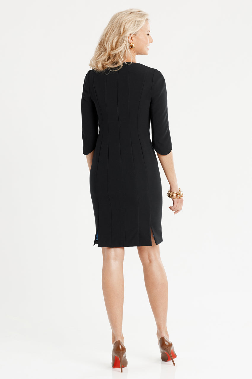 Back profile of Princess seamed Crepe Sculpted Sheath Dress in black