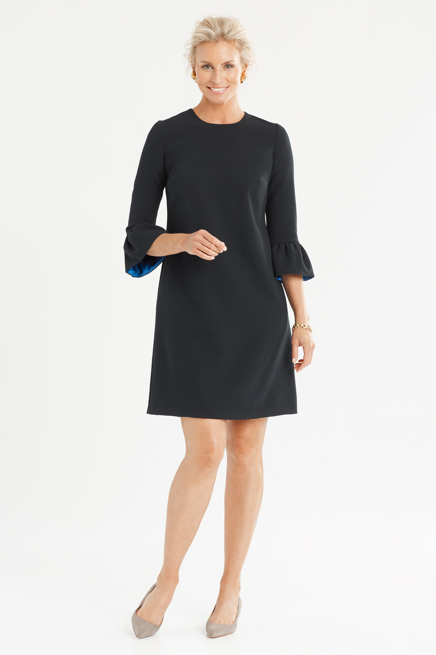 Bell sleeve A line dress in black