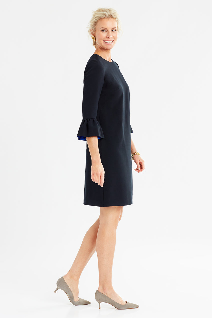 Side profile of Bell sleeve a-line dress in black