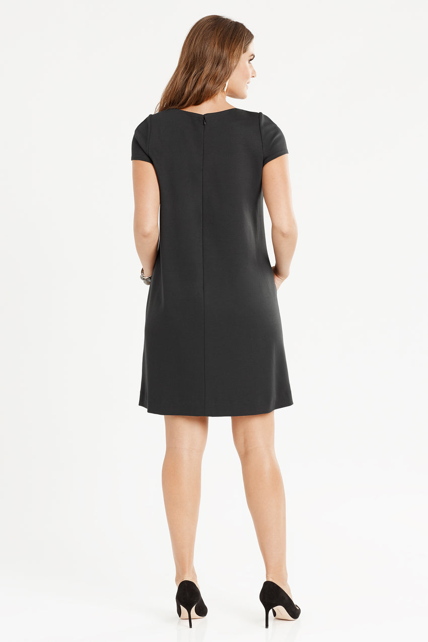 Black profile of Short Sleeve Knit A-Line Dress in black