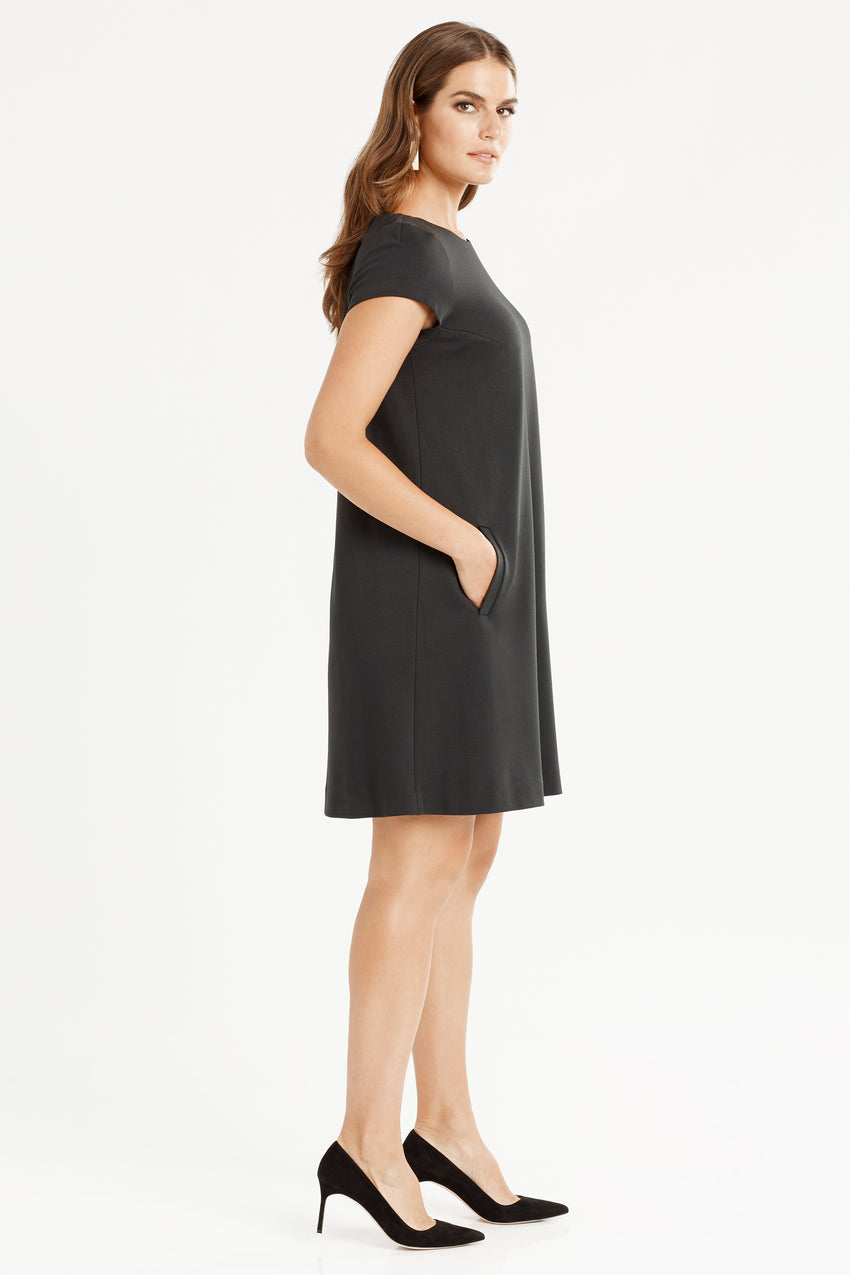 Side profile of Short Sleeve Knit A-Line Dress in black