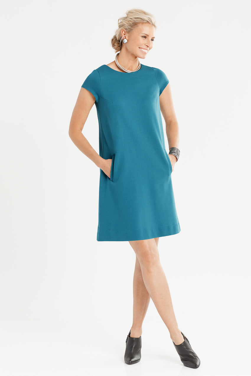 Short Sleeve Knit A-Line Dress in teal