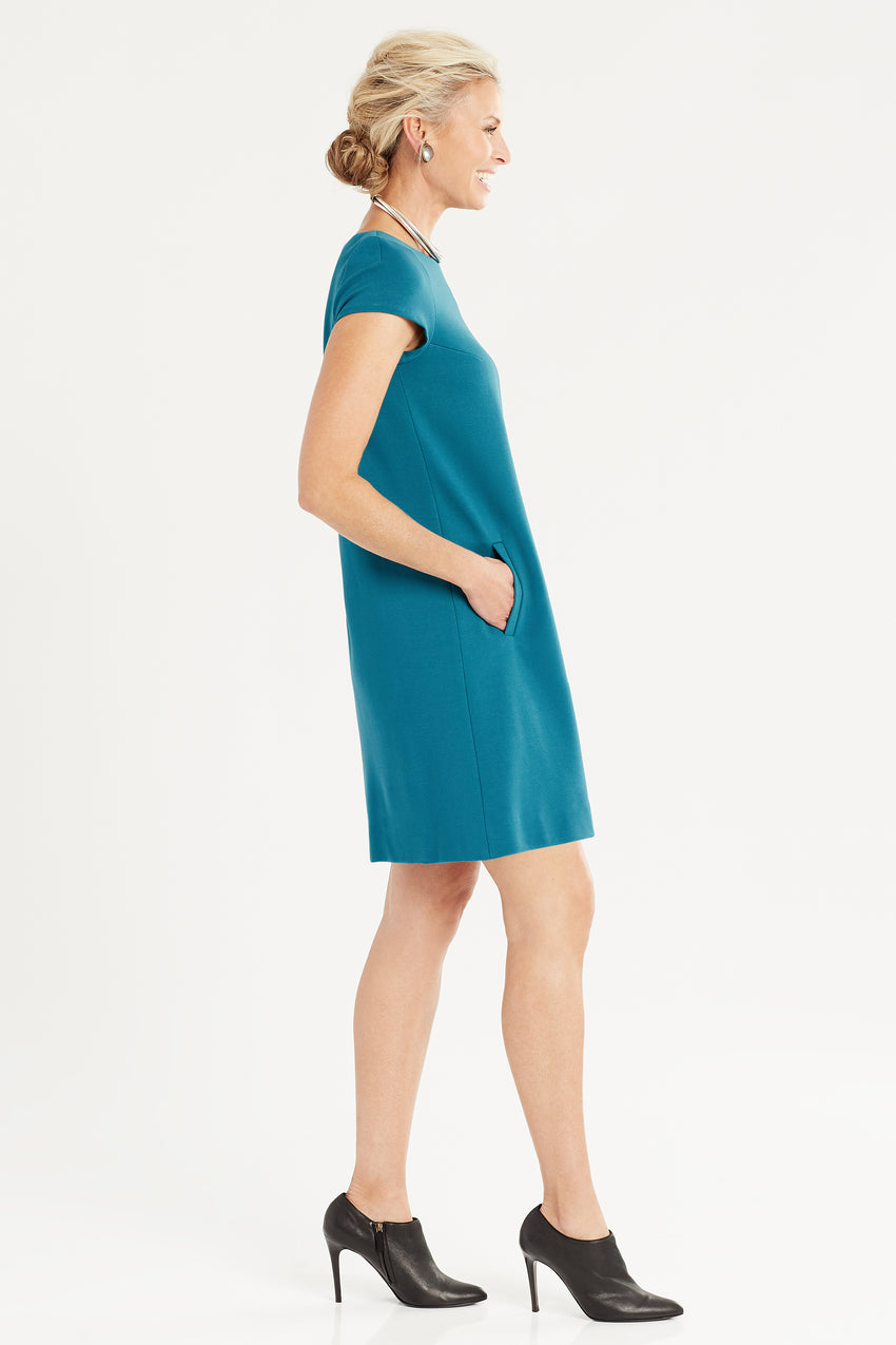 Side profile of Short Sleeve Knit A-Line Dress in teal