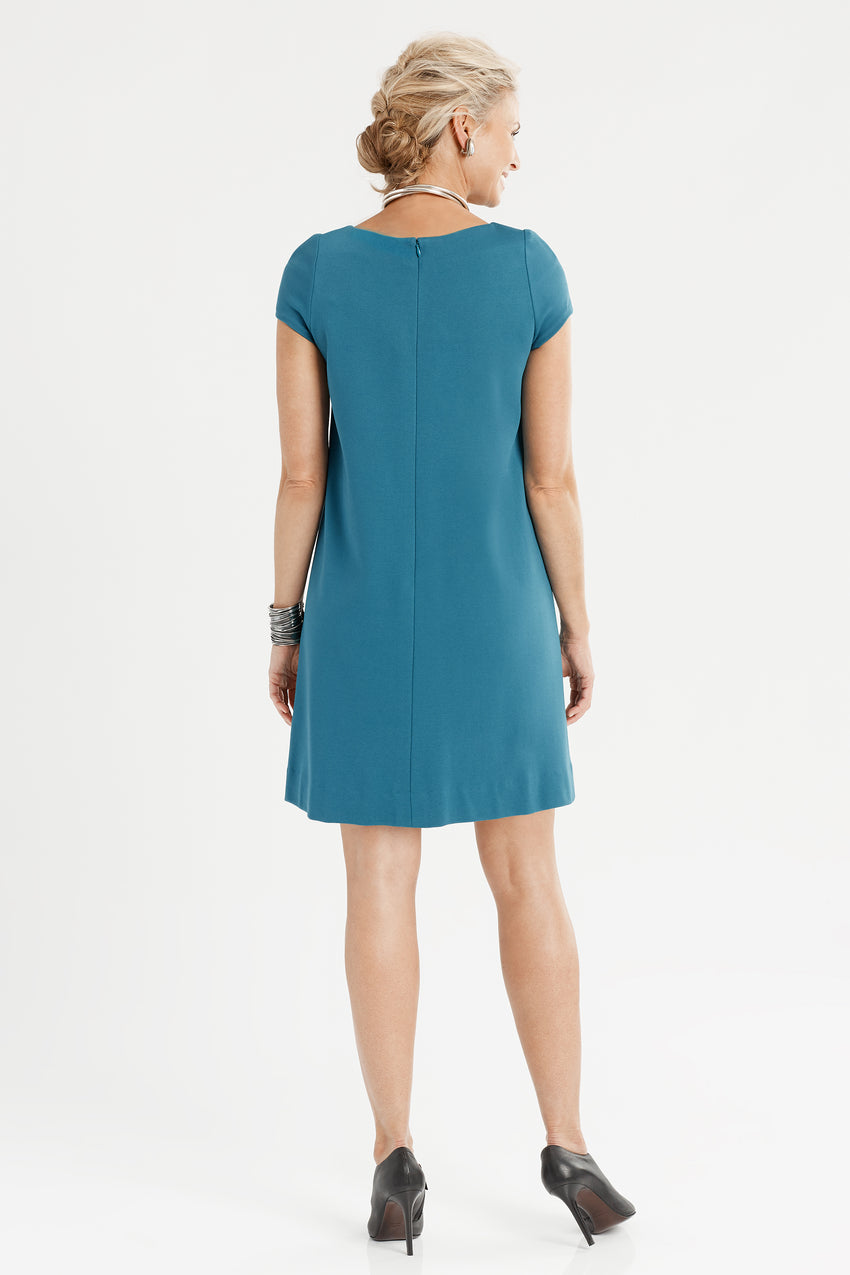 Back profile of Short Sleeve Knit A-Line Dress in teal