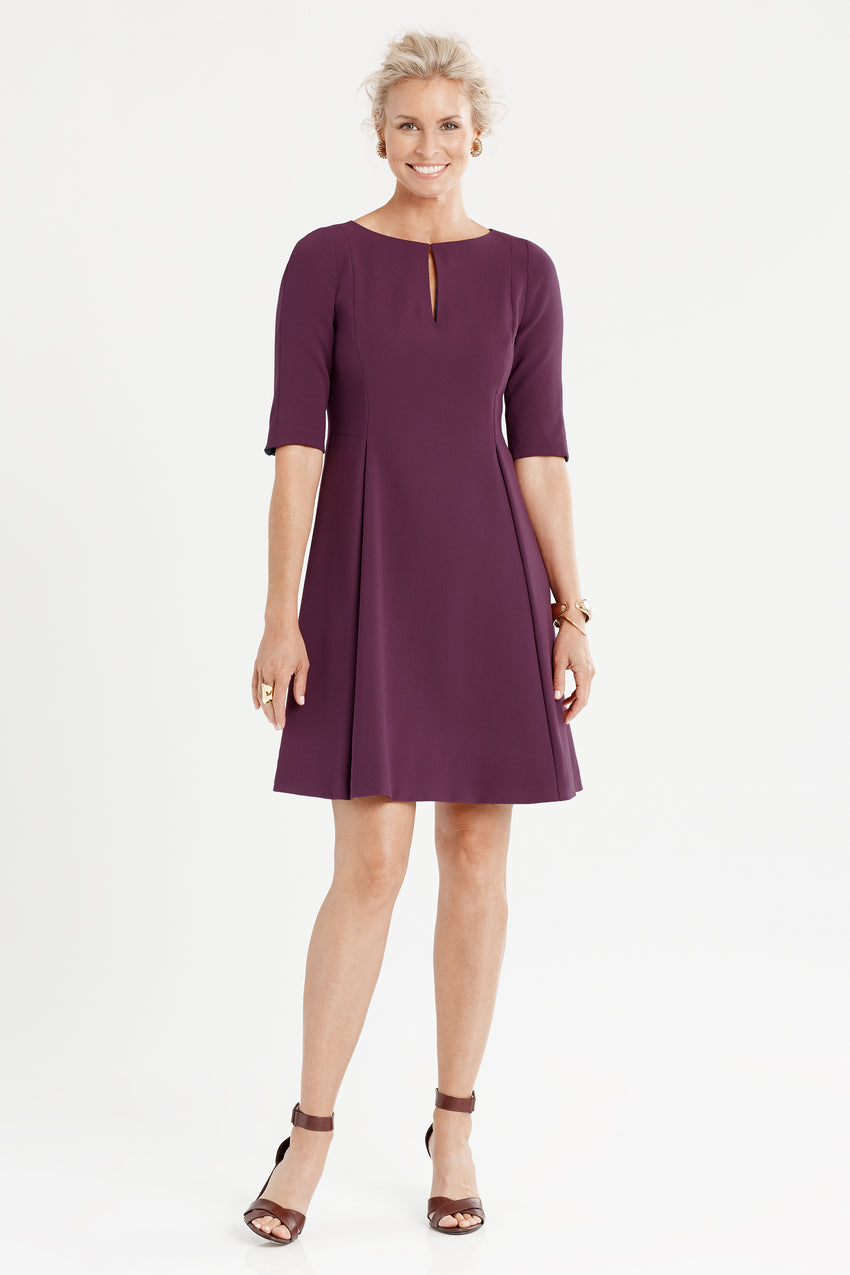 Split neck fit and flare dress in aubergine/purple/eggplant