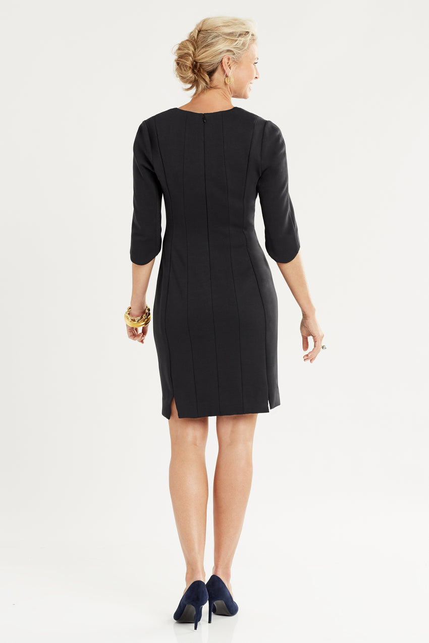 Back profile of Double Knit Sheath Dress in black