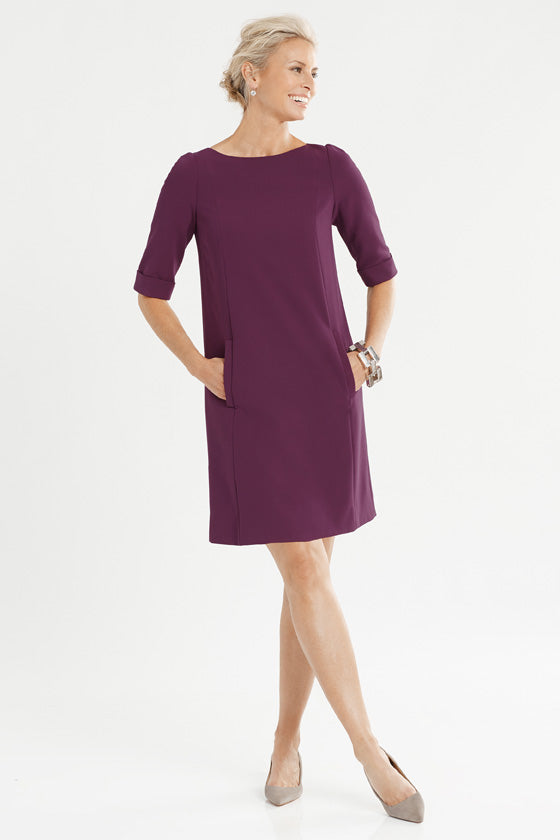 Below elbow, roll sleeve a-line dress with pockets in color aubergine/purple/eggplant