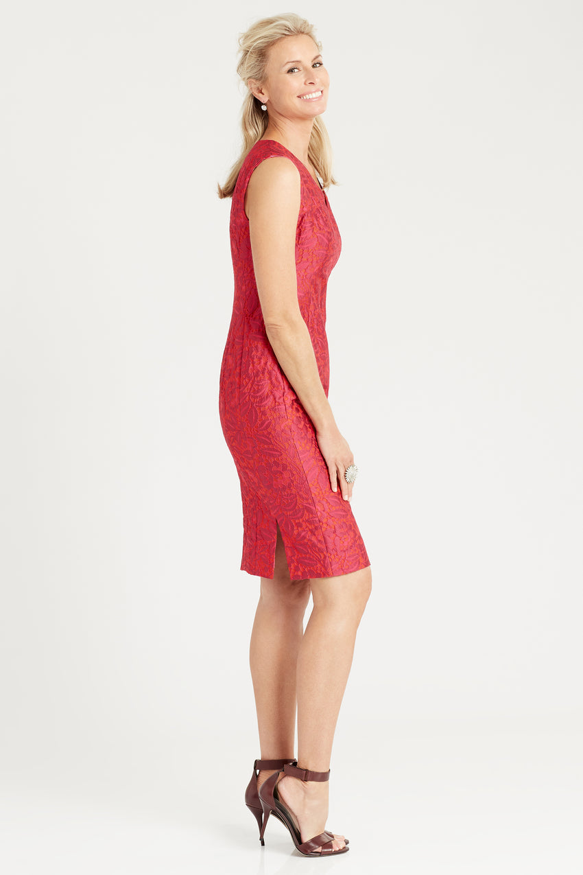 Side profile of Brocade sheath dress in red