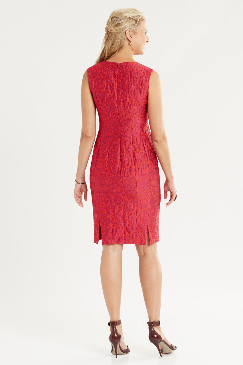 Back profile of Brocade sheath dress in red