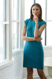 Wrinkle resistant double knit cap sleeve dress in teal