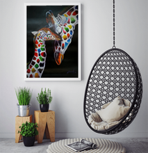 Stretchy the giraffe with her baby multi coloured oil painting on canvas by London Artlife