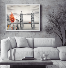 London Tower Bridge  black and white with red tree oil painting on canvas by London Artlife