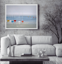 Calm sea view with colourful boats oil painting on canvas by London Artlife