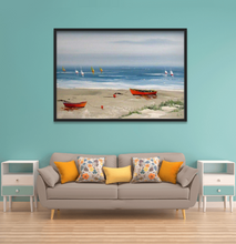 Beach View with boats oil painting on canvas by London Artlife