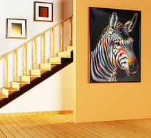Stripy's sister the Zebra Portrait multi coloured oil painting on canvas by London Artlife