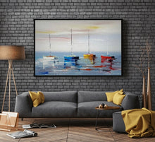 Sea view with colourful boats oil painting on canvas by London Artlife
