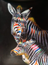 Stripy with her baby multi coloured zebra oil painting on canvas by London Artlife