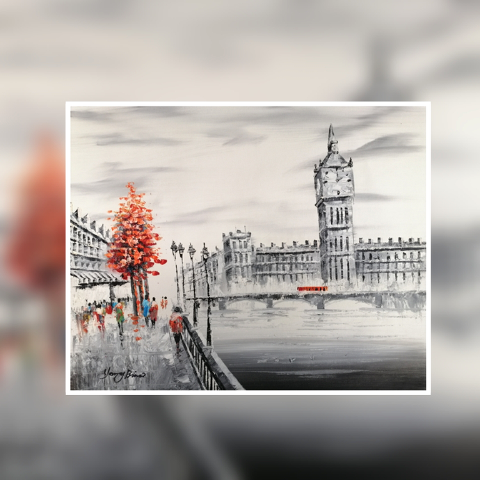 London Big Ben black and white red tree oil painting on canvas by London Artlife