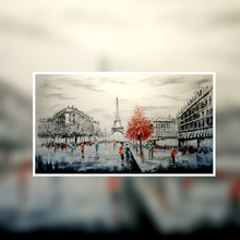 Paris Eiffel Tower  black and white with red tree oil painting on canvas by London Artlife