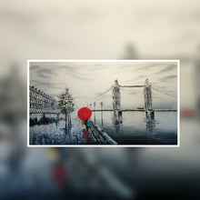 London Tower Bridge black and white with red umbrella oil painting on canvas by London Artlife