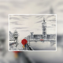 London Big Ben  black and white with red umbrella oil painting on canvas by London Artlife