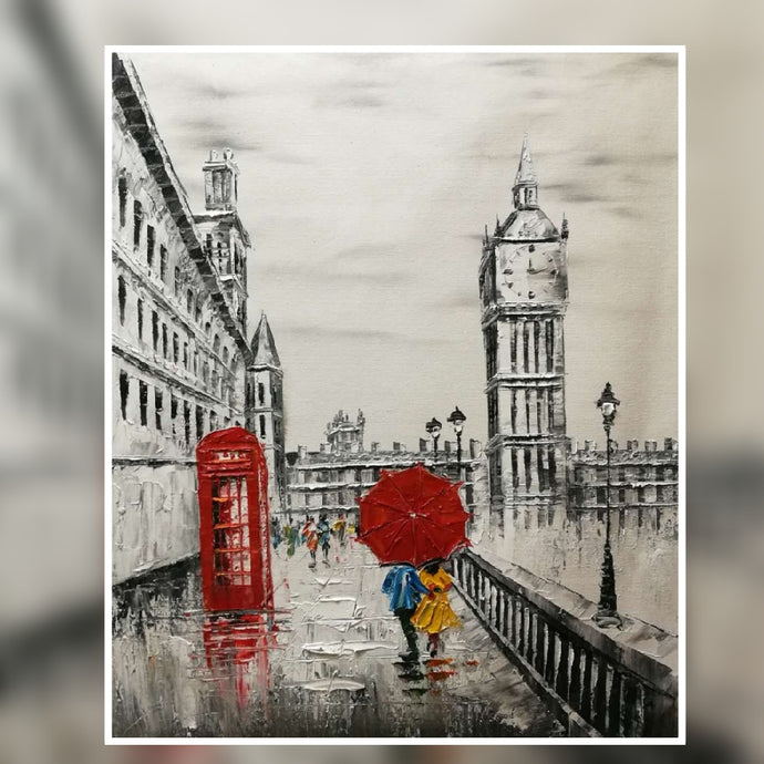 Big Ben black and white red phone box and red umbrella oil painting on canvas by London Artlife