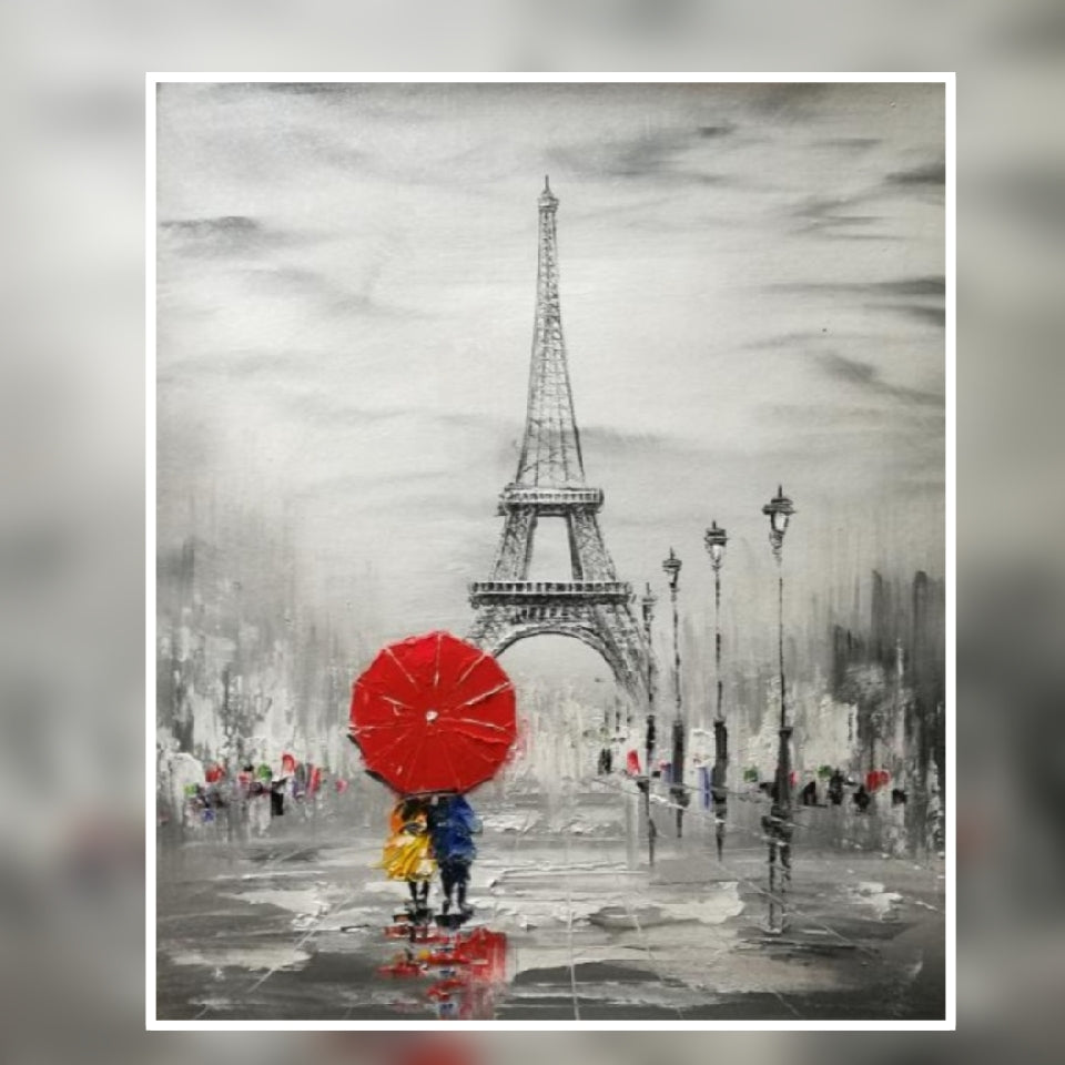 Paris Eiffel Tower Red umbrella oil painting on Canvas by London Artlife