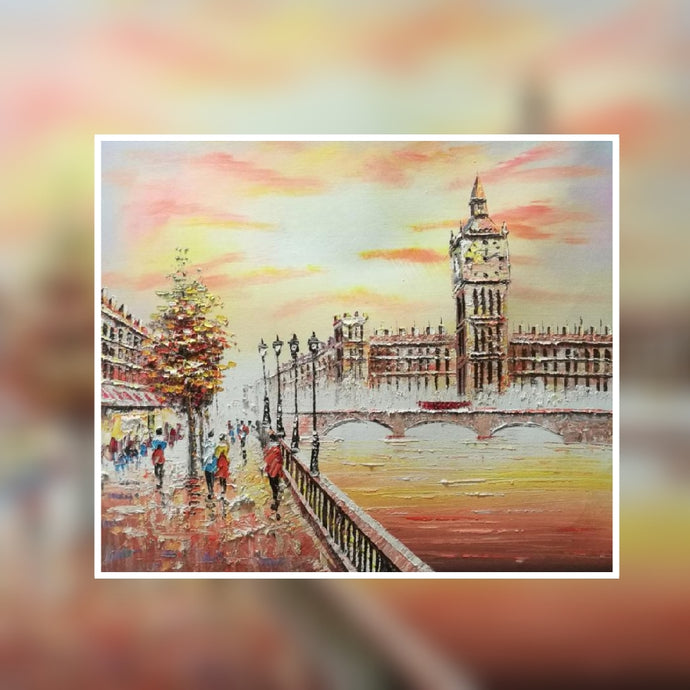 Big Ben sunset oil painting on canvas by London Artlife