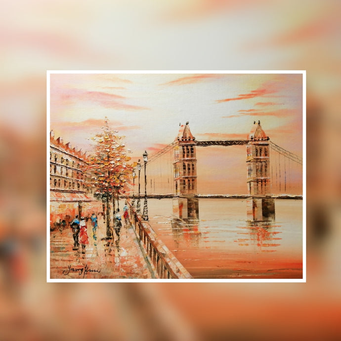 London Tower Bridge sunset oil painting on canvas by London Artlife