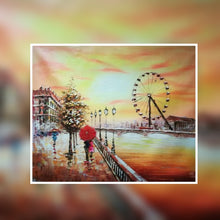 London Eye sunset colour with red umbrella oil painting on canvas by London Artlife