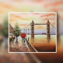 London Tower Bridge sunset colour with red umbrella oil painting on canvas by London Artlife
