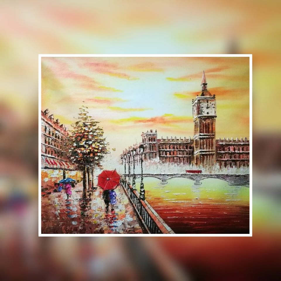 London Big Ben sunset colour with red umbrella oil painting on canvas by London Artlife