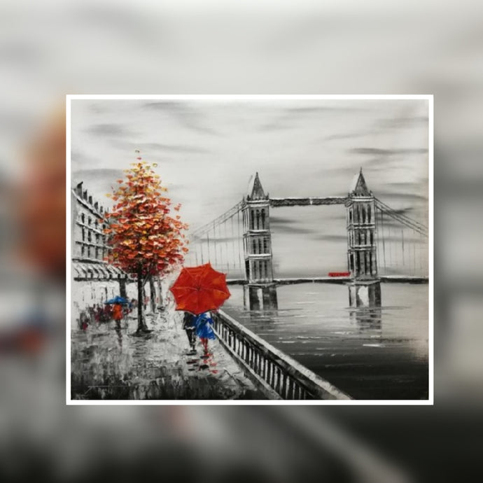 Tower Bridge black and white with red tree and red umbrella oil painting on canvas by London Artlife