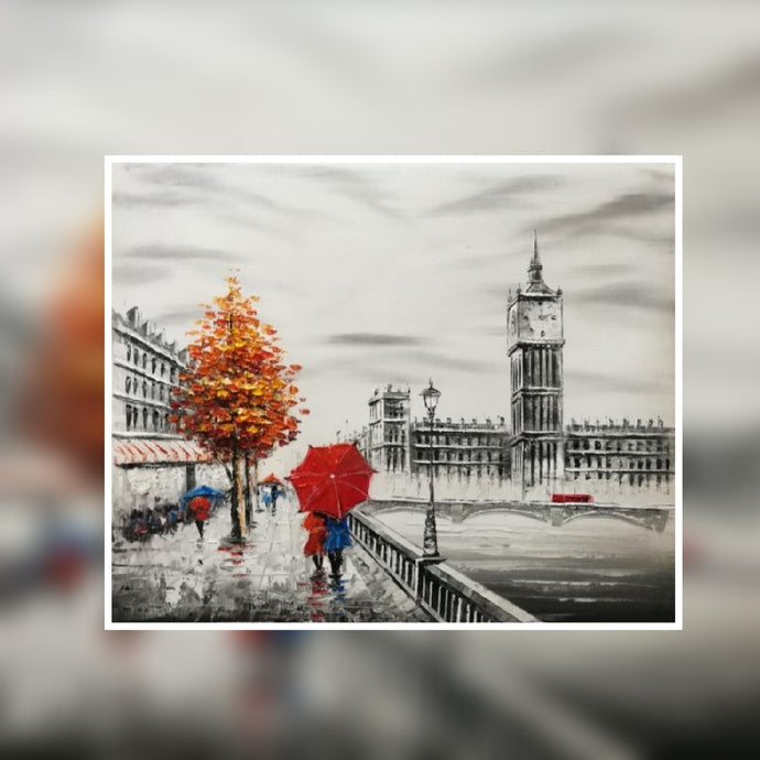 Big Ben black and white with red tree and red umbrella oil painting on canvas by London Artlife