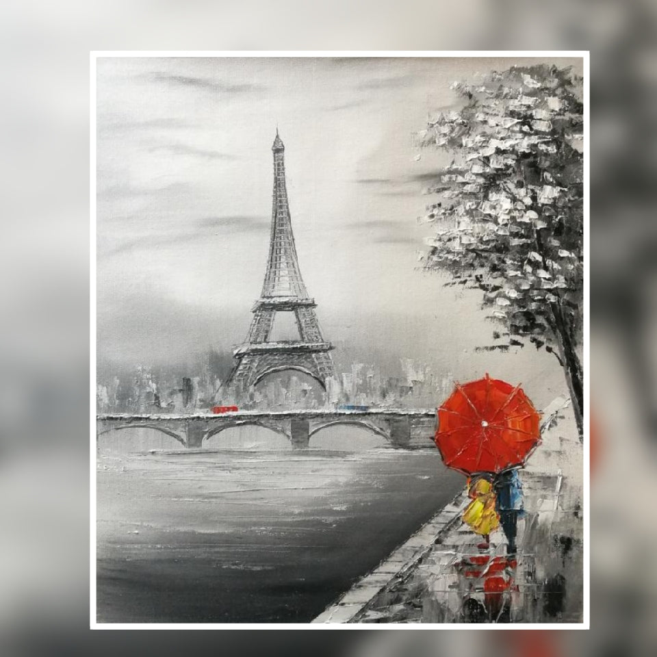 Paris Eiffel Tower River Side Red umbrella Oil Painting on canvas by London Artlife