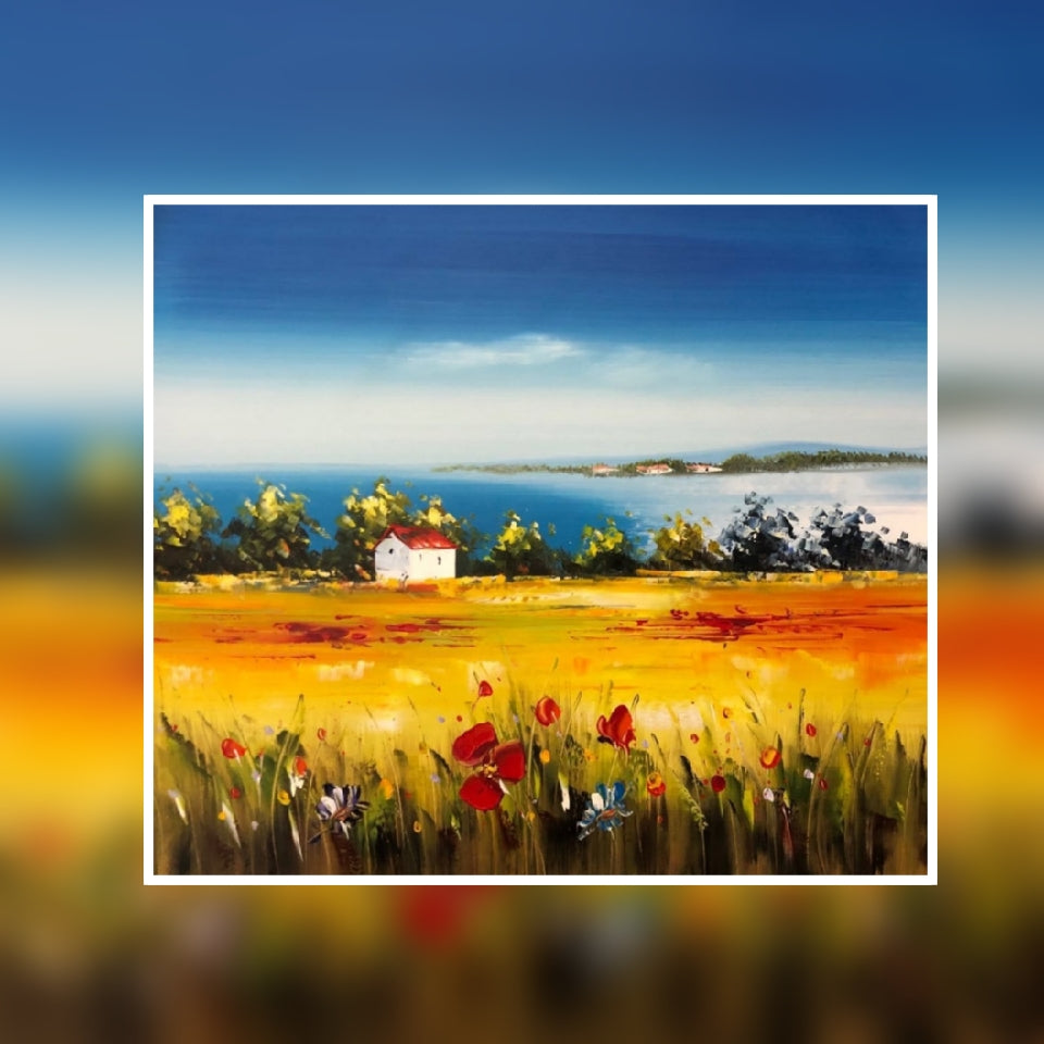 Poppy fields sea view oil painting on canvas by London Artlife