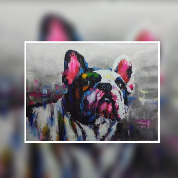 Sniffy the cute dog multi colour oil painting on Canvas by London Artlife